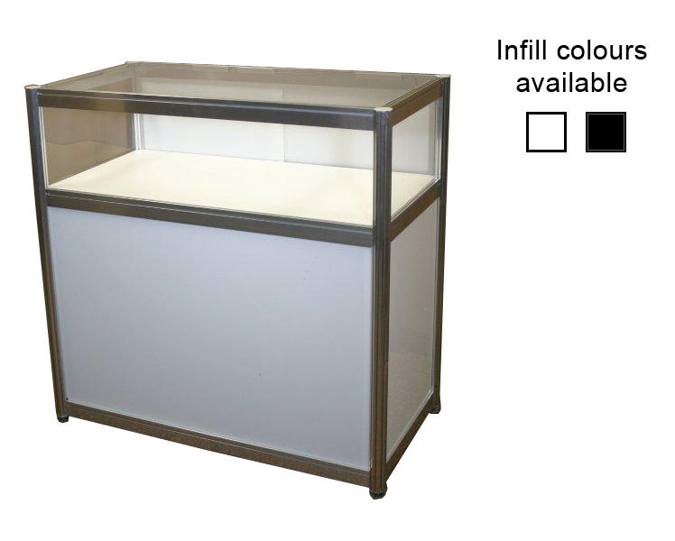 Single Shelf Glass Showcase with storage counter